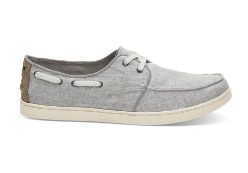 TOMS MEN'S /DRIZZLE GREY COATED LINEN CULVER LACE-UPS