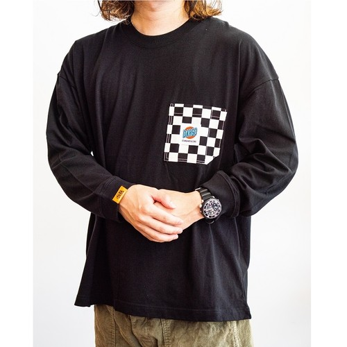 【DARGO】Working Pocket WIDE Long T-shirt (CHECKER / BLACK)
