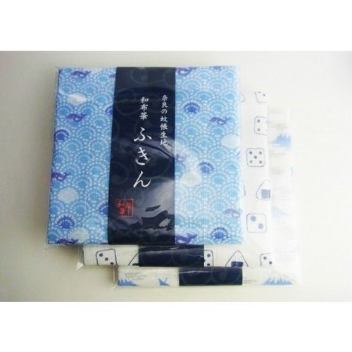 奈良の蚊帳生地布巾3枚セット 和布華 富士山鶴となみまくじらとさいころり tyf32-846-843