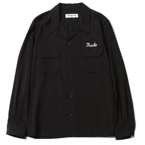 RUDE OPEN COLLAR SHIRT (BLACK) / RUDE GALLERY