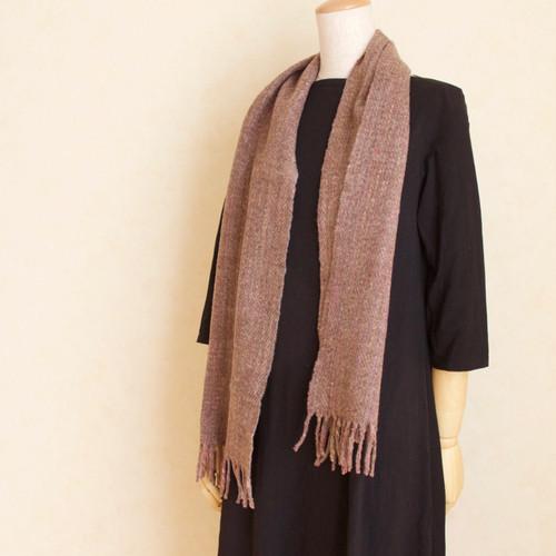 手紡ぎ手織りのマフラー(茶色+ピンク)