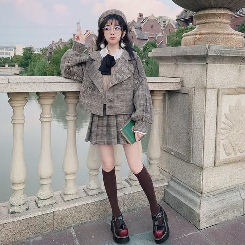 チェックスカート ミニ チェック スカート  プリーツ 丈 秋冬 タータン 羊毛混