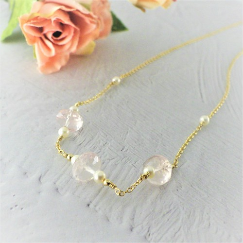 Rose quartz&Pearl beads Necklace