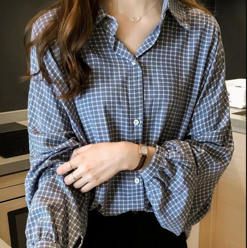 【トップス】チェック柄折り襟パフスリーブシンプルシングルブレスト清新ゆるいシャツ