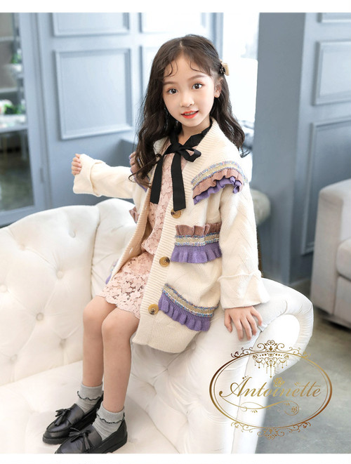 autumn fall winter baby kids jacket hangout kawaii cute long カーディガン パープル ホワイト 秋冬 かわいい