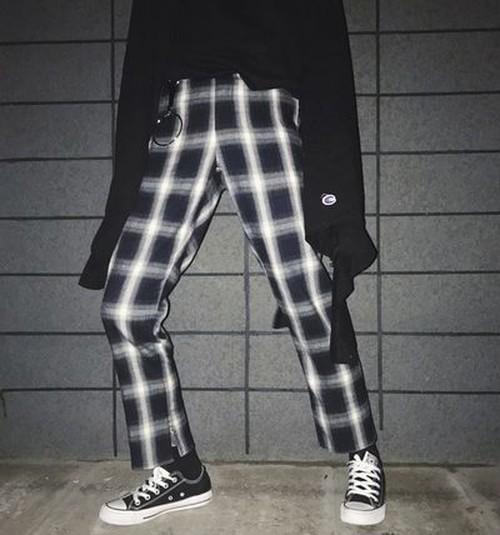 トレンド♪ボーイフレンド風 チェック柄 パンツ【0151】