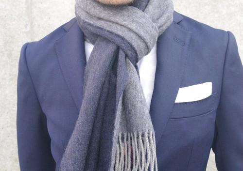 暖かくて上品なピュアカシミア・ダブルフェイスマフラー #1ネイビー