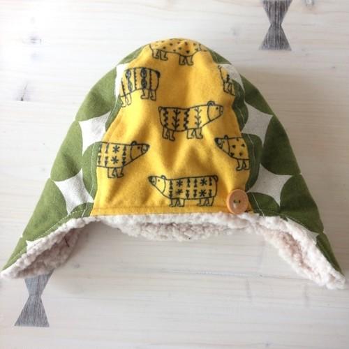 あったか冬帽子(キイロくま)・小(サイズ50くらい)