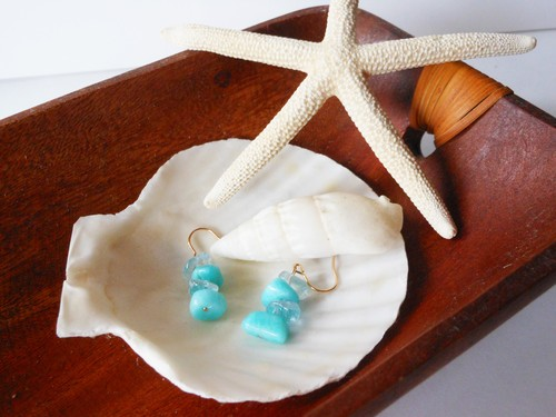 ◇aqua marine/amazonite◇14kgf「waiting for wave」ピアス