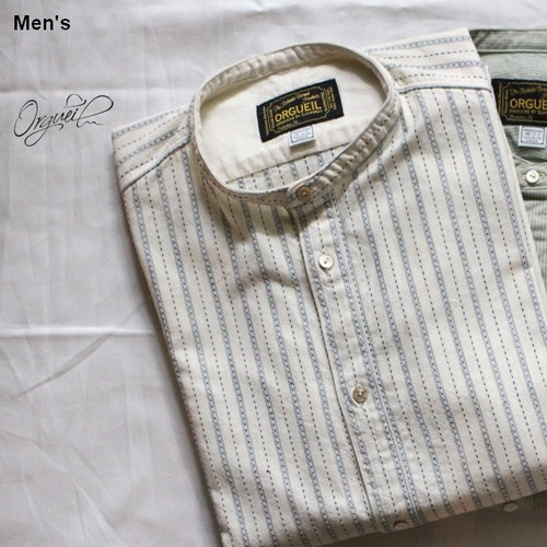 Orgueil バンドカラーシャツ Band Collar Shirt (DOBBY STRIPE)