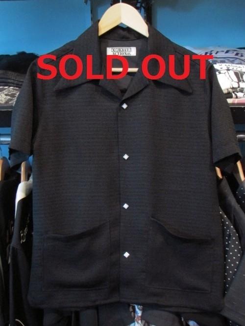 S/S40'sエリ&フロント2ポケットシャツ 織りボーダー ブラック×ブラック