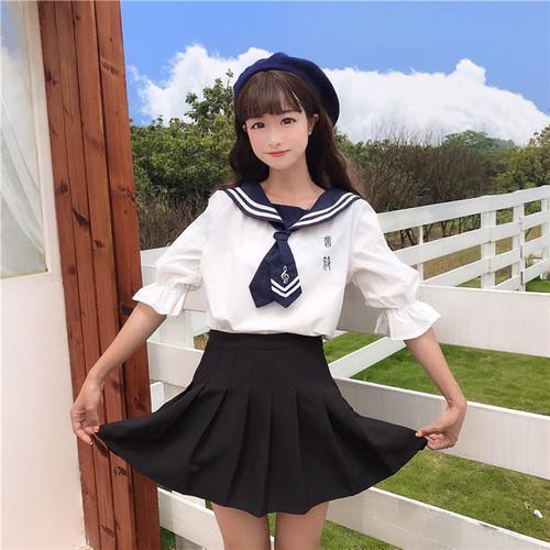 【セットアップ】学園風キュート春夏半袖トップス+プリーツスカートセットアップ