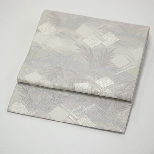 西陣織正絹袋帯 絽 笹や松柄 銀糸