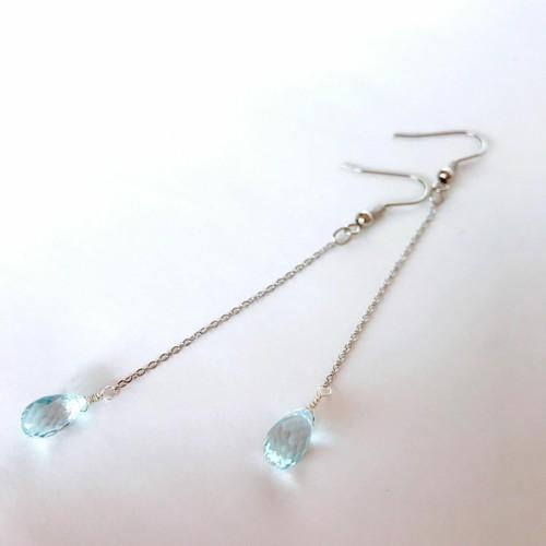 【宝石質】透きとおるブルートパーズのロングビアス