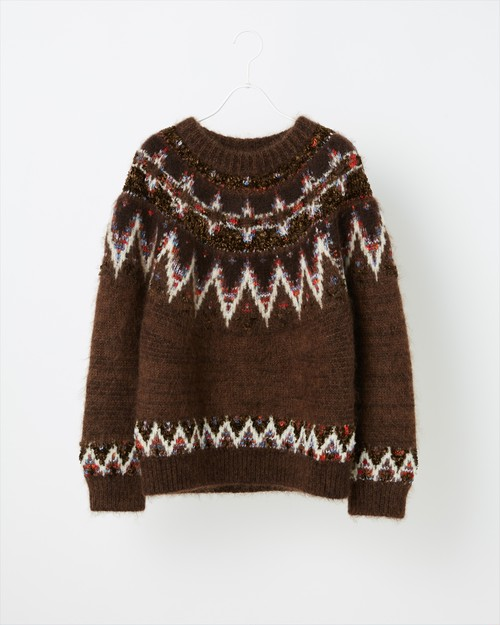 【COOHEM  WOMEN】MOHAIR NORDIC KNIT SWEATER for WOMEN:ブラウン