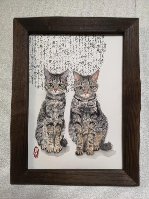 月ねこ~吾輩は猫である【額装作品】