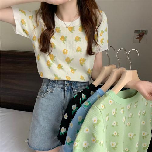 オシャレ 新作 ラウンドネック 半袖 ハナ 可愛い 人気 Tシャツ・トップス