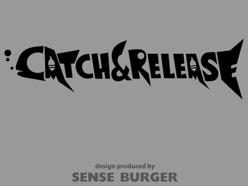 キャッチ&リリース 釣り 魚デザイン 文字 モチーフ catch and release ステッカー fishing 黒 ブラック 【sti02511blk】
