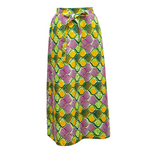 Iラインスカート 「レモン」 黄緑 グリーン パープル イエロー  / アフリカン エスニック ガーナ服 パーニュ バティック