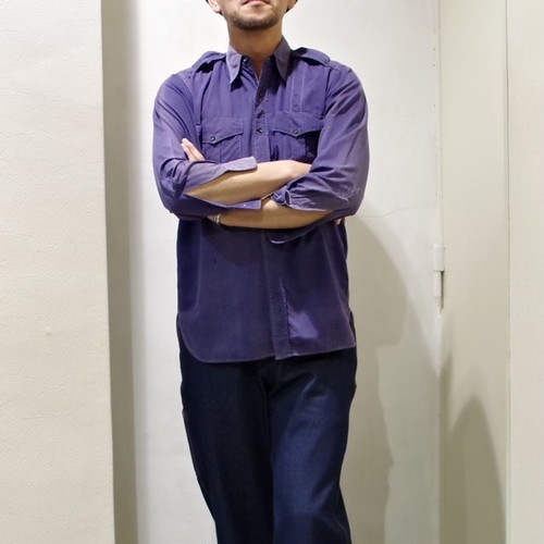 """SPECIAL !! 1940-50s Work Shirt """"West Dundee Fire Dept"""" / Cotton Poplin / ヴィンテージ ワークシャツ"""