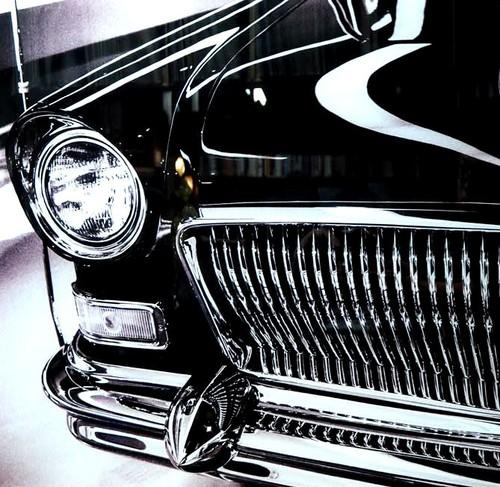 品番0039 新品 ガラスア―ト 9003 『クラシックカー』 額装 壁飾り 飾り板 インテリア アメリカン雑貨