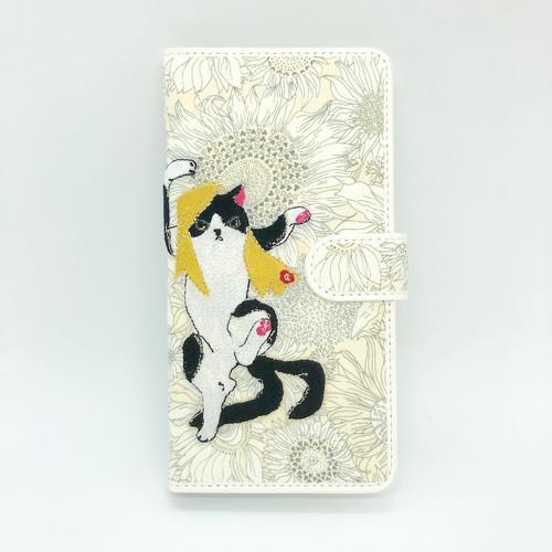 【Lサイズ 7ポケット】ハチワレ猫又手帳マルチスマホケース【リバティ生地】【Android & iPhone】