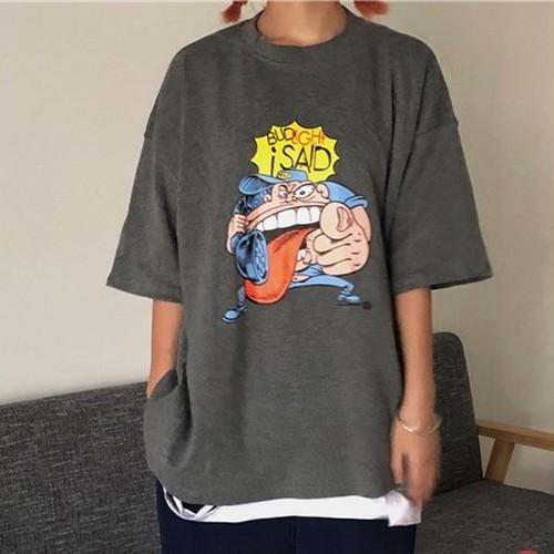 【トップス】新作韓国風カートゥーンプリントゆったりTシャツ