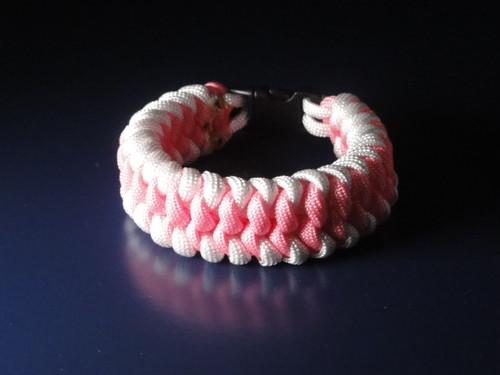 パラコード ブレスレット ピンク白