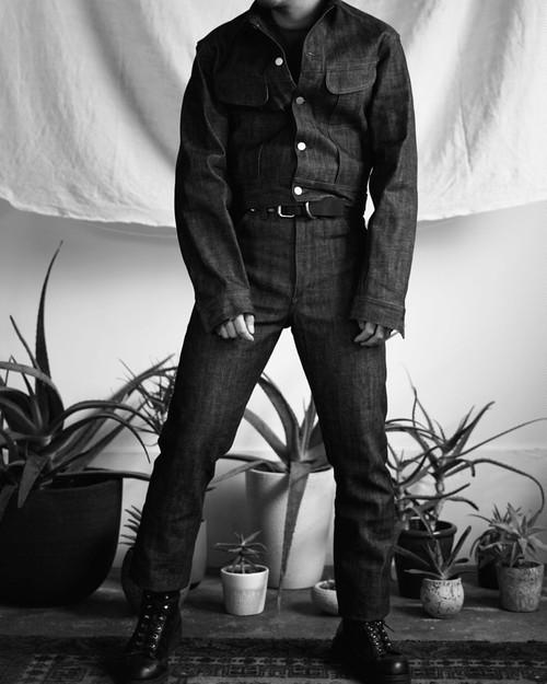<STYLING> ⇨ TUKI - cowboy jacket & pants black denim
