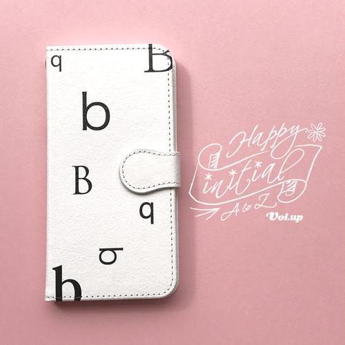 ハッピーイニシャル B iPhoneケース 白