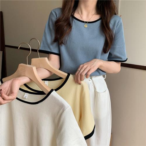 シンプル オシャレ 可愛い ラウンドネック 半袖 着痩せ Tシャツ・トップス