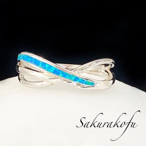 D090 送料無料 人気デザイン レディース メンズ リング 指輪 シンプル オパール ブルー ウェーブ シルバーリング  ランキング