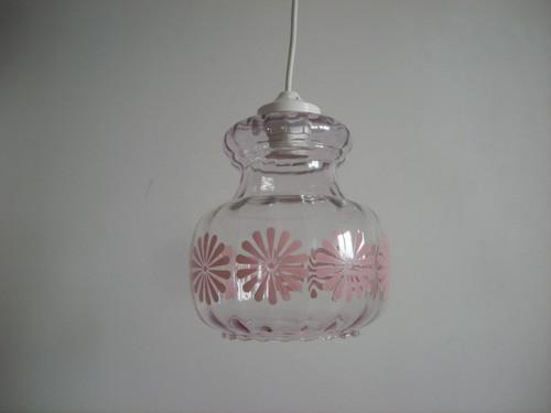 フランス製 ガラスシェード ひょうたん型 ピンク花柄