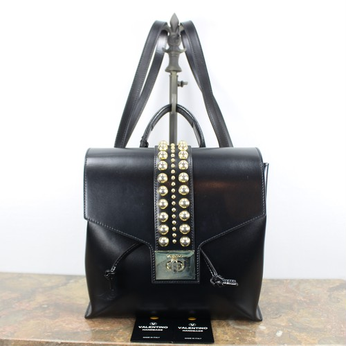 .VALENTINO BY MARIO VALENTINO STUDS LEATHER RUCK SUCK MADE IN ITAIY/ヴァレンチノバイマリオヴァレンチノスタッズレザーリュックサック 2000000040080