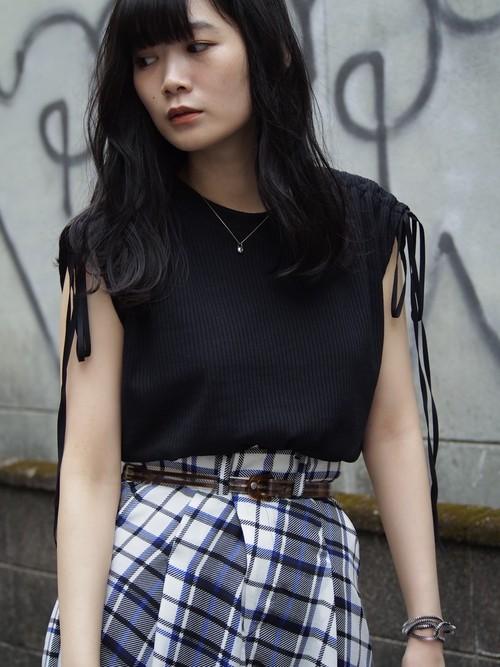 【SALE】NATSUMI ZAMA Tuck Up Jersey Top black