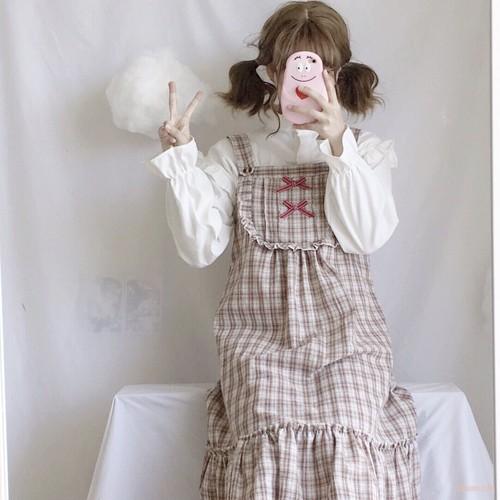 【ワンピース】2点セット可愛いレトロリボンチェックフリルワンピース+長袖シャツ