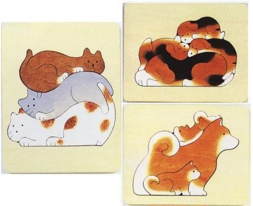 木製ハンドメイドパズル「犬猫3点セット」