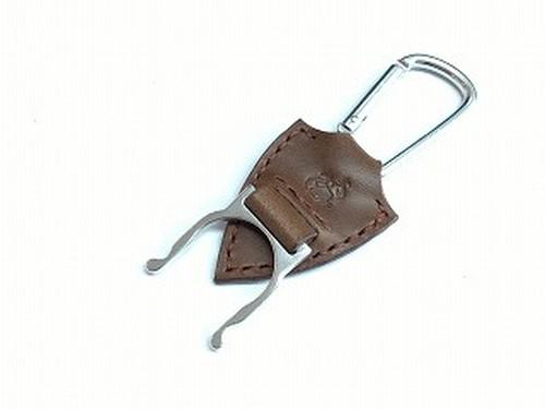 ペットボトルホルダー 革:チョコ  糸:茶色