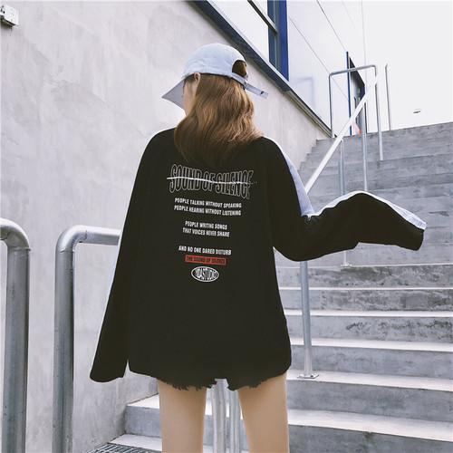 【トップス】切り替え配色ストリート系エイジング加工Tシャツ