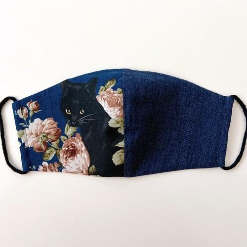 《ノーズワイヤー入り立体マスク》黒猫と薔薇⑰紺×紺