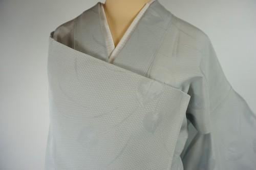 未使用【夏】紋紗 色無地 一つ紋 正絹 白銅色 グレー 水色 520