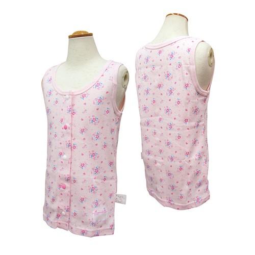 <GARAU製>タンクトップ 前開き ピンク花柄 120~160cm [型番:800151]