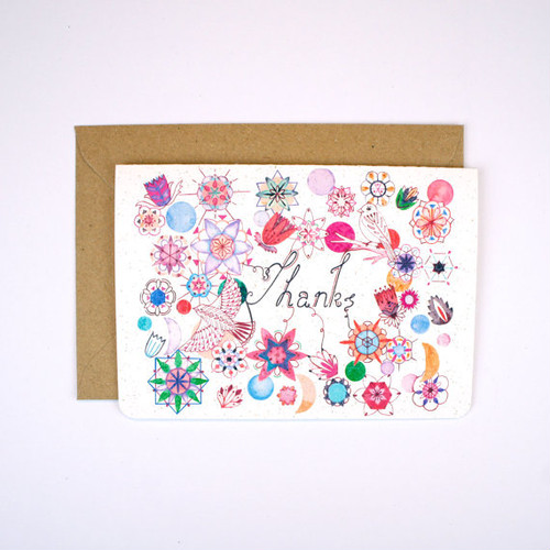 "Flowers and Birds ""Thanks"" Card"