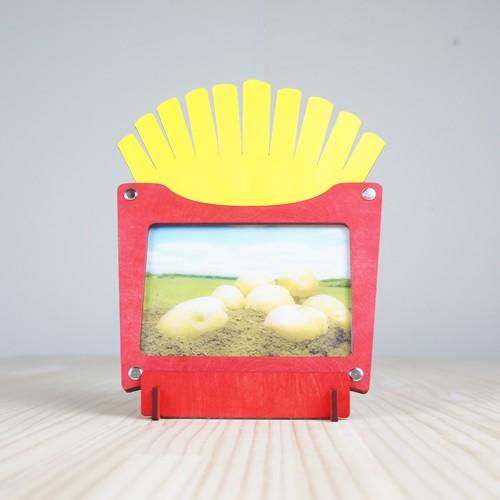 「フライドポテト」木製写真立て(L判サイズ用)フォトフレーム インテリア