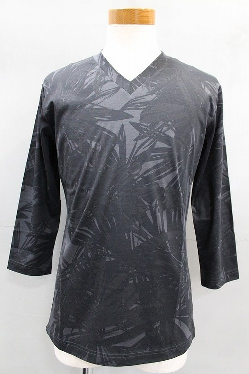 5351 POUR LES HOMMES ビッグフラワースムースVネック7分袖 ブラック