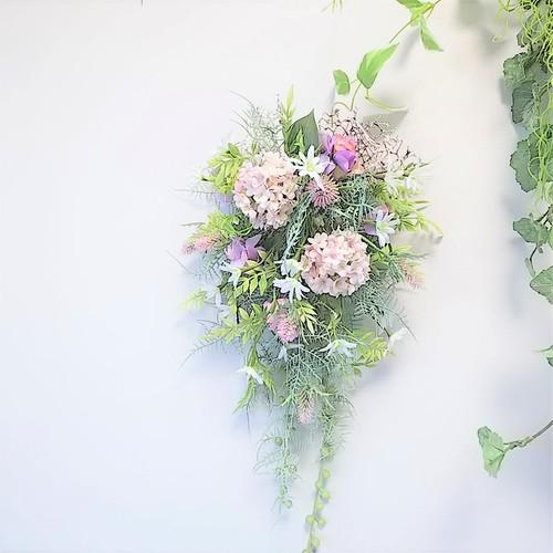 スノーボール と 小花 の ナチュラル スワッグ パープル色 アーティフィシャルフラワー