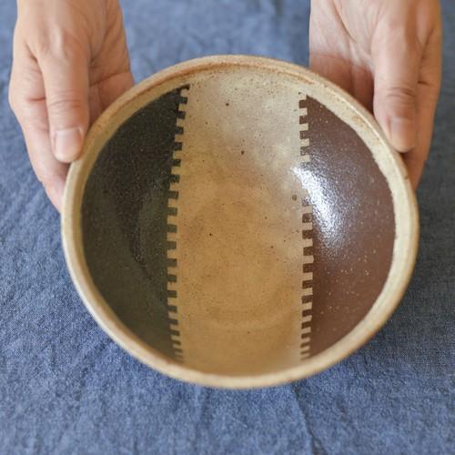 牧谷窯 丸鉢・大(ジグザグ3色) 練り込み 商品番号:mh7c