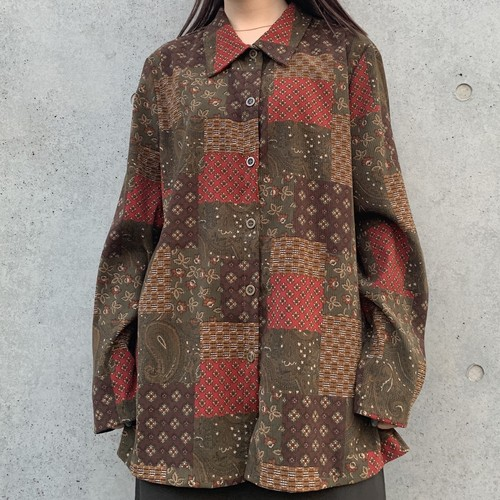 (LOOK) patchwork print over size shirt