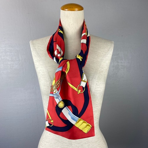 HERMES SILK100% ASCOT TIE SCARF EPERON D'OR TELLIER MADE IN FRANCE/エルメスシルク100%アスコットタイスカーフ(黄金の拍車)