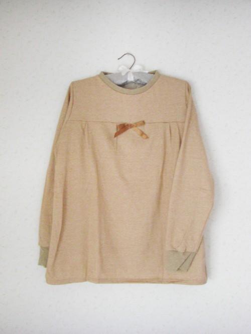 家服いえふく オーガニックコットン100%胸元ギャザーリボンプルオーバー ブラウン(茶色)